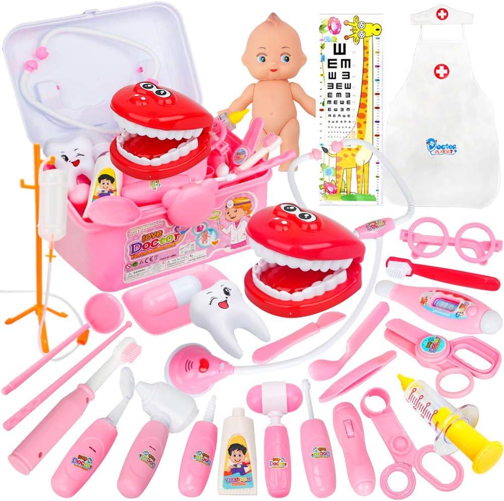 QMORE 32 Piezas Maletin Medicos Juguete - Doctora Juguete con Estetoscopio Disfraz Enfermera Juegos de Imitacion para Niñas Niños