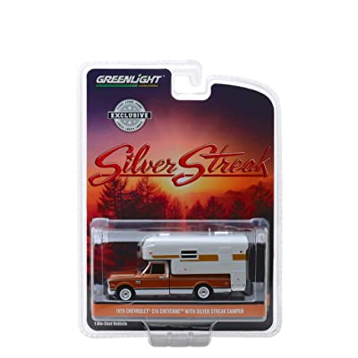 1970 Chevrolet C-10 Cheyenne Brown with Silver Streak Camper White Hobby Exclusive 1/64 Diecast Model Car by Greenlight 30023: Toys & Games