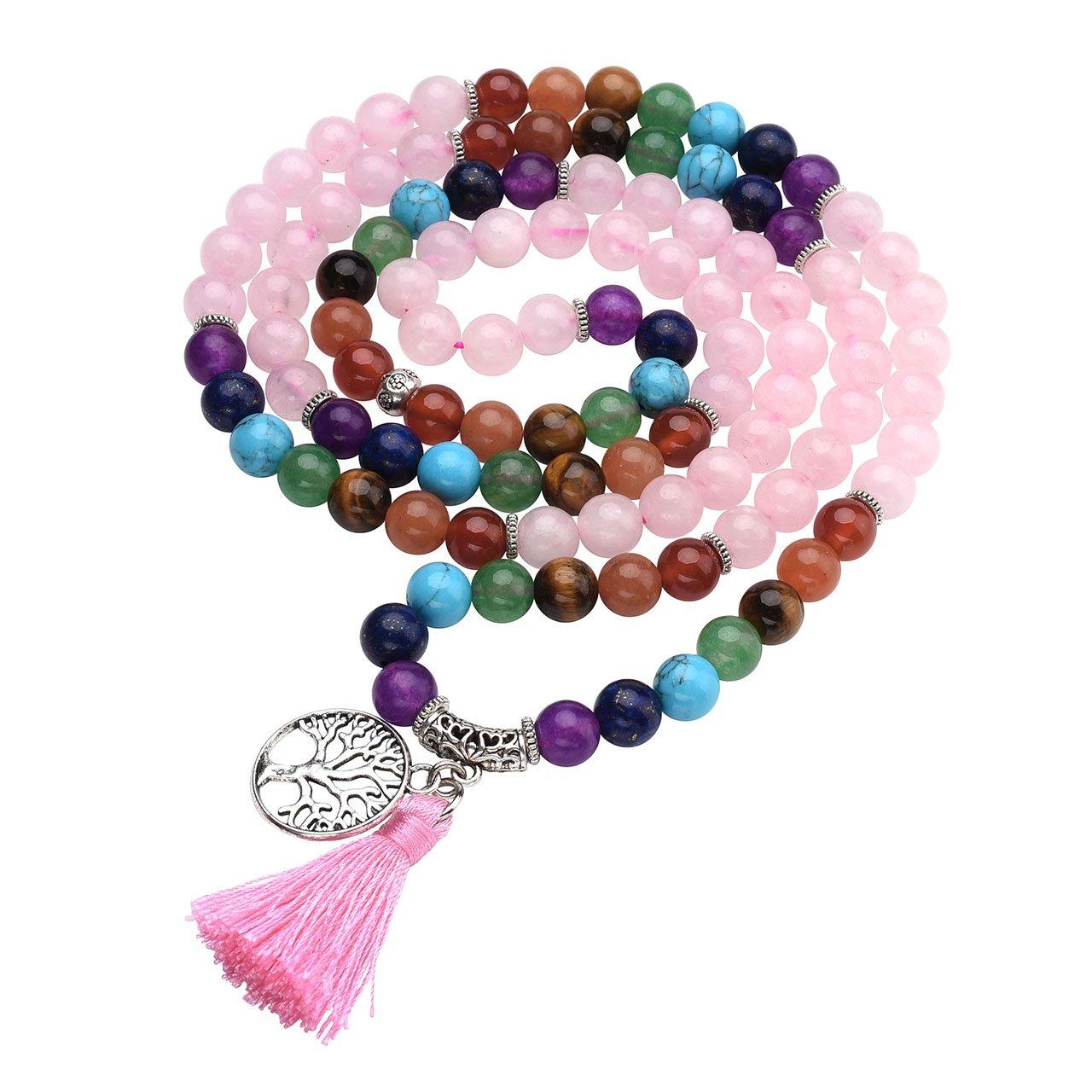 JOVIVI 8mm Natural 7 Chakra Healing Crystal Gemstone Buddhist Prayer 108 Beads Tibetan Mala Bracelet Necklace w/Tree of Life Tassel AJ1010105749
