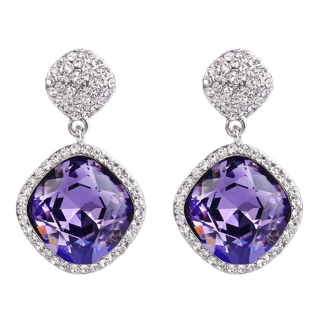 2232912e9 Amazon.com: BriLove Women's Bohemian Boho Wedding Bridal Crystal Square Infinity  Figure 8 Dangle Earrings Amethyst Color Silver-Tone: Jewelry