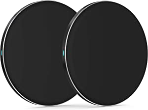 TalkWorks Wireless Charger 5W (2 Pack) Qi Certified Wireless Charging Pad (No Wall Adapter) for Apple iPhone 12, 11, XR, XS, X, 8, Android for Samsung Galaxy S20, S10, S9, S8 - Black