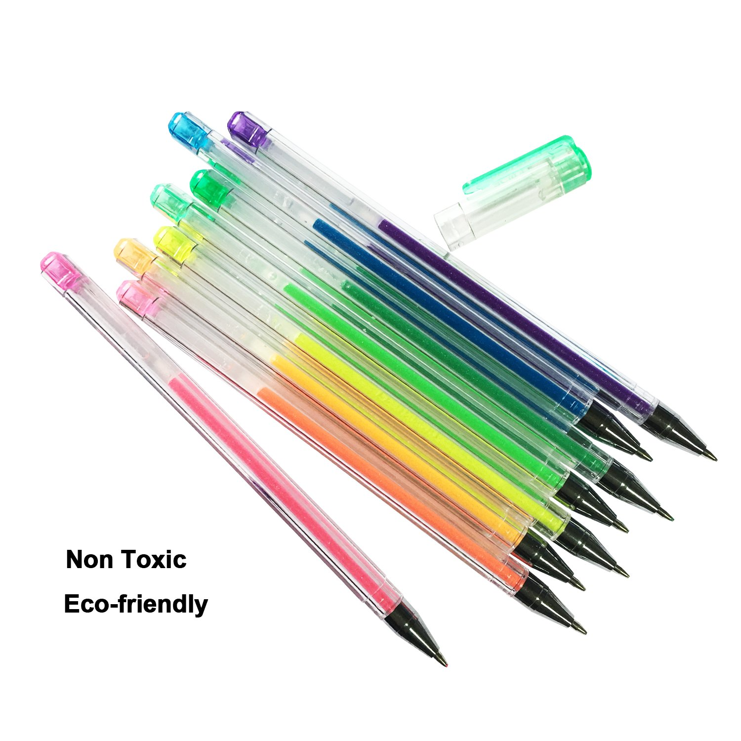 12 Colors Glitter Gel Pen Set with 0.8mm, Fluorescent Pens Coloring Set for Adult Coloring Books Bullet Journal Crafting Doodling Drawing Art Markers (12 pcs/set) by Lasten (Image #4)