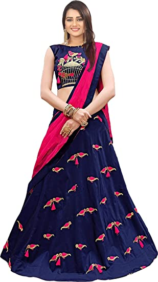 d42a6cfcf0 Bollyclues Women's Taffeta Silk Embroidered Lehenga Choli with Dupatta  (Parot_Blue_Semi Stitched; Free Size): Amazon.in: Clothing & Accessories
