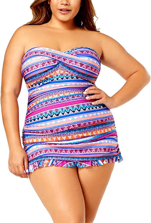 20W Multi Profile by Gottex Plus Size Tapestry Printed Tummy-Control Swimdress Womens Swimsuit