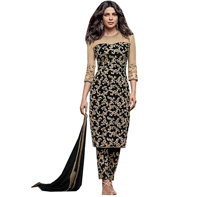 737c10f83f Ready Made Black Georgette Embroidered India Pakistan Churidar Straight Cut  Salwar Suit (Customize Stitched)