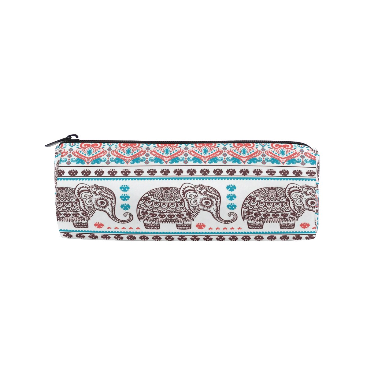 ALAZA Vintage Graphic Indian Lotus Ethnic Elephant Animal Pencil Pen Case Pouch Bag with Zipper for Girls Kids School Student Stationery Office Supplies