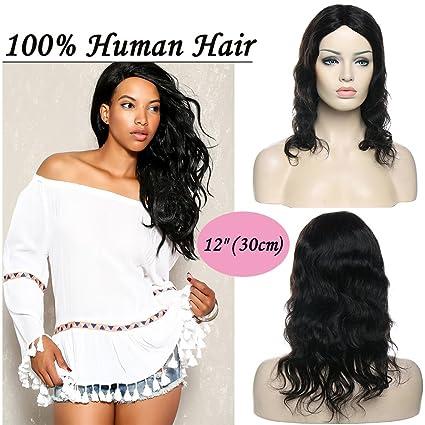 "12""(30cm) Pelucas Mujer Pelo Natural Cortas Rizadas Onduladas 100% Remy Cabello"