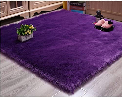 Luxurious Soft Faux Sheepskin Rug Super Fluffy Silky Carpet Mat for Bedroom Floor Sofa Chair Armchair or Couch,Purple 10ftx10ft