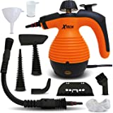 "Xtech Multi-Purpose Electric Steam Cleaner With Advanced ""Safety Lock"" on Steamer Button plus 9 Assorted attachments and Accessories including Long Spray Nozzle, Round Brush Nozzle + More"