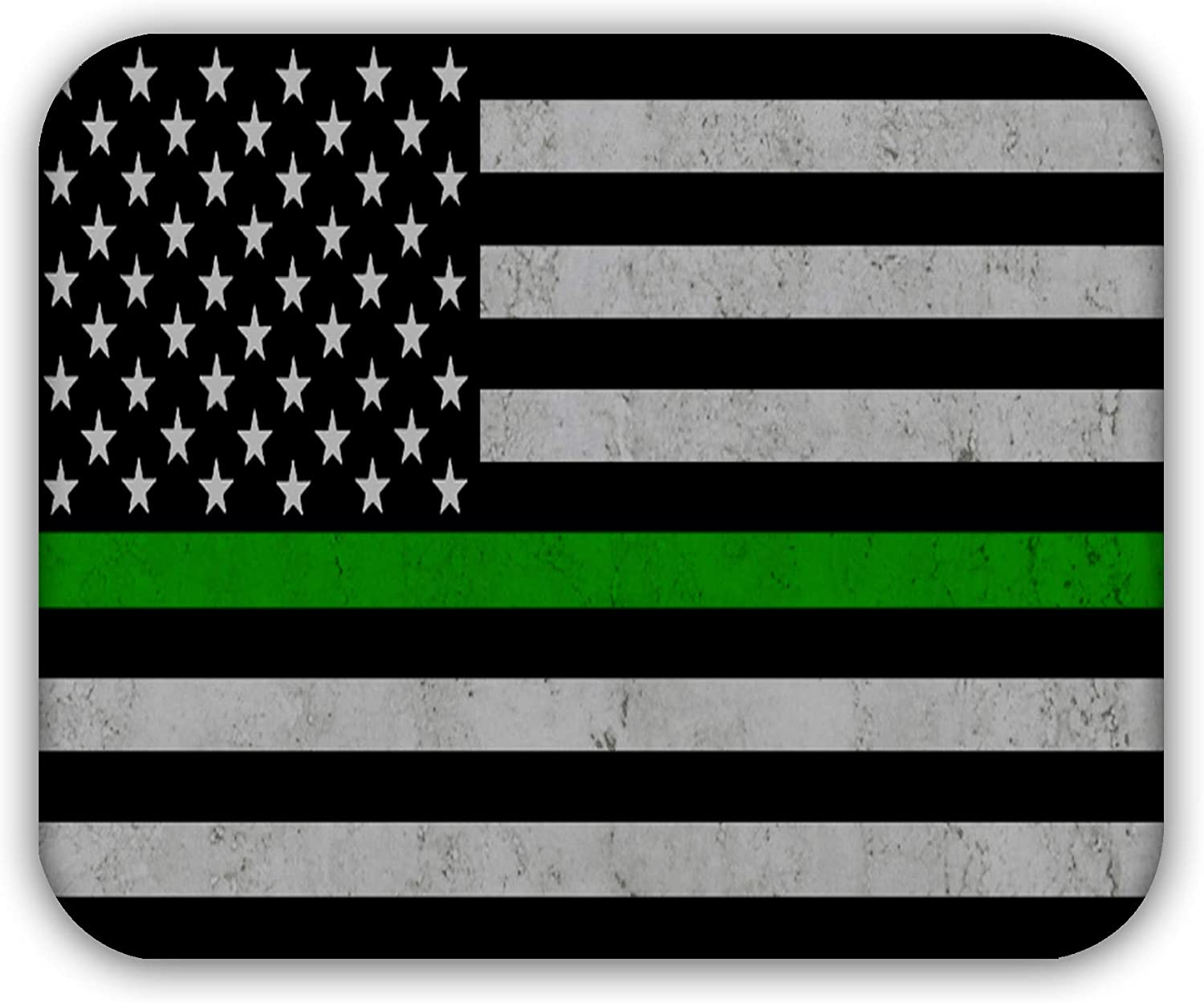 Thin Green Line USA Flag Anti-Slip Mouse pad Desktop Mousepad by CJPRINTS