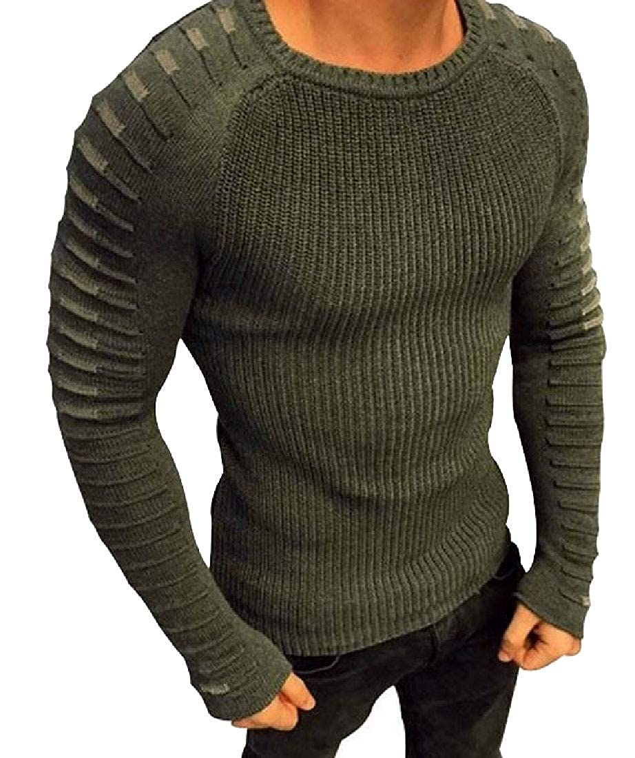 omniscient Mens Crewneck Long-Sleeved Slim Pullover Knit Cable Sweaters