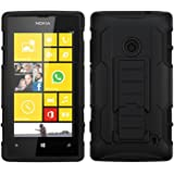MYBAT Car Armor Kickstand Protector Cover Rubberized for Nokia Lumia 520 - Retail-Packaging - Black