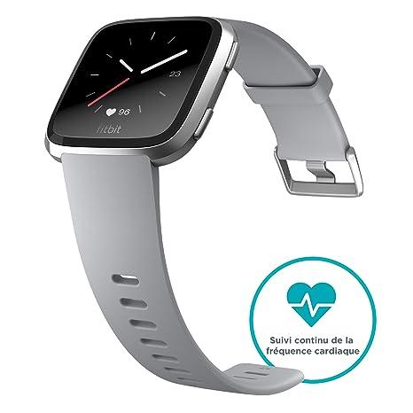 Fitbit Versa, Montres connectées forme, sport & bien-être: + de 4 jours dautonomie, étanche, suivi fréquence cardiaque, Argent: Amazon.fr: Sports et ...
