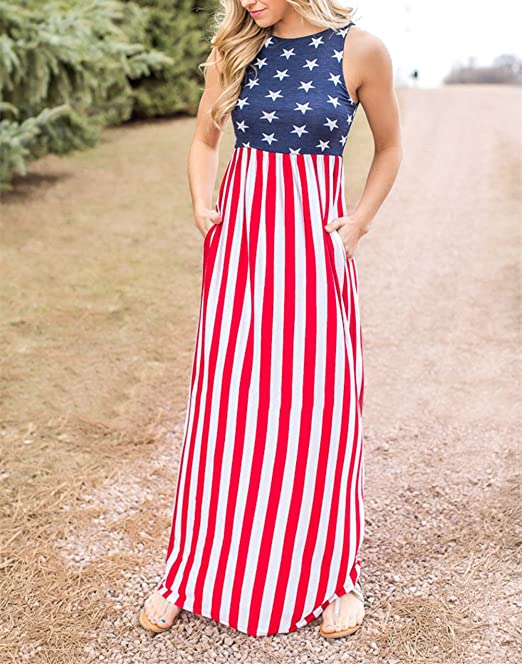Xuan2Xuan3 Women 4th July Patriotic Flag Independence Day Stars and Stripes USA Long Maxi Dress at Amazon Womens Clothing store: