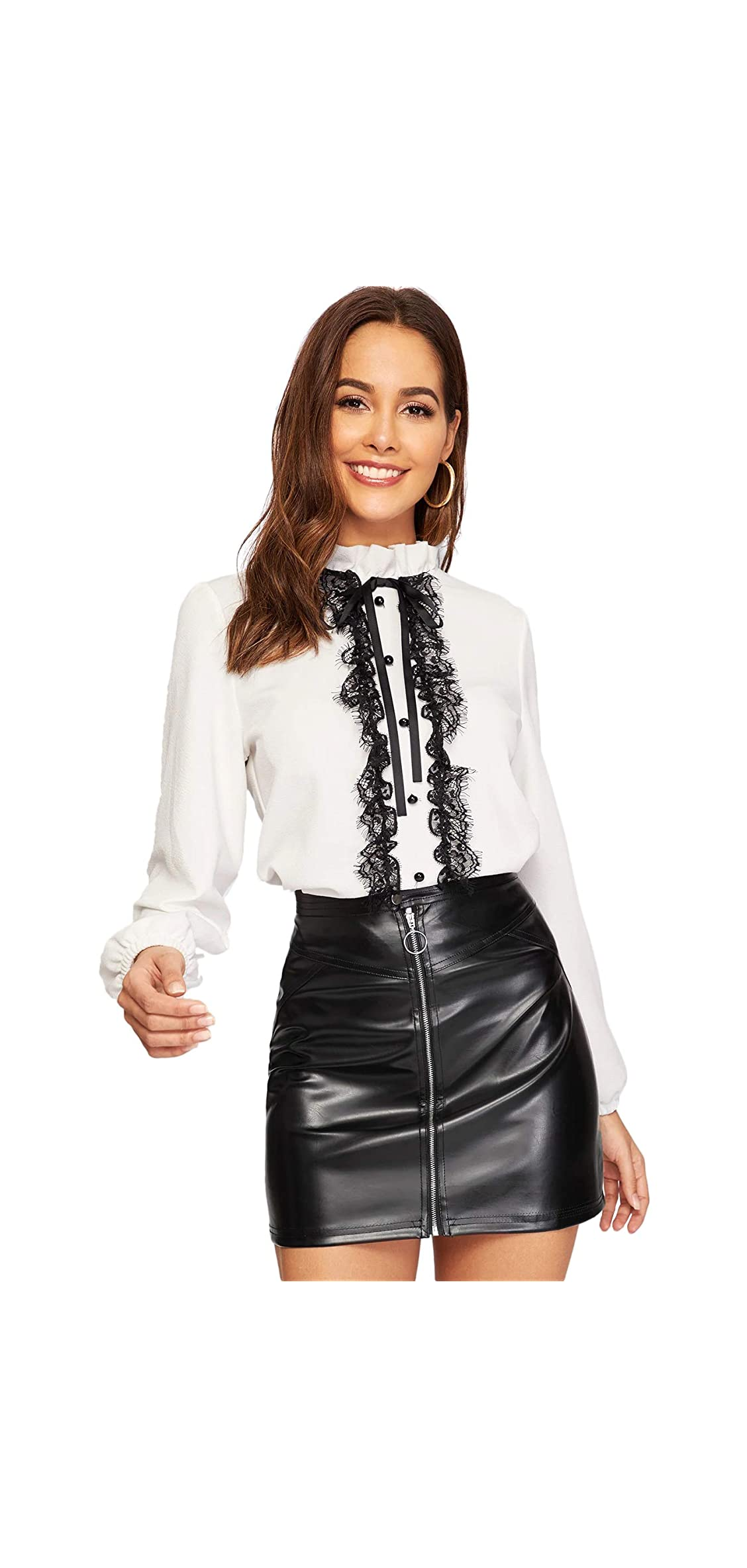 Women's Elegant Tied Lace Panel Frill Neck Blouse Long Top