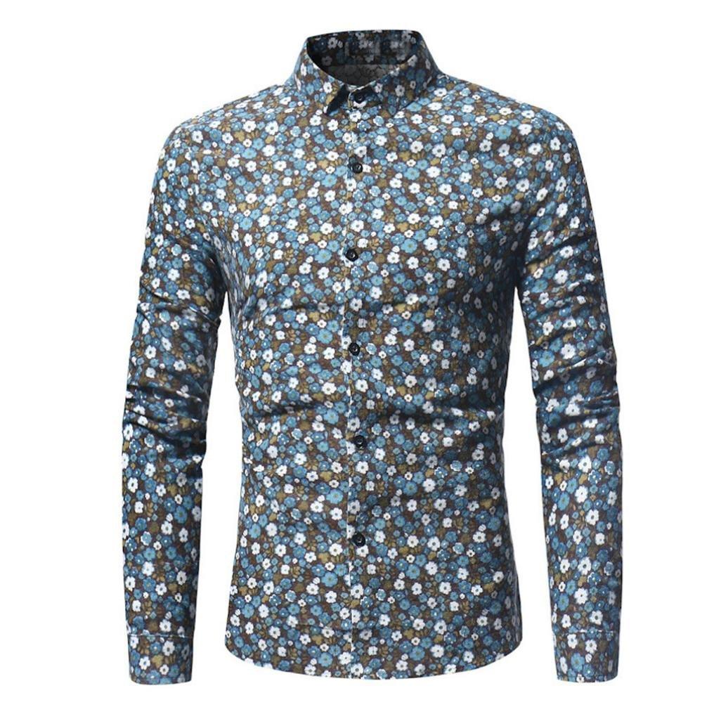 kaifongfu Man Shirt,Clearance Men's Long Sleeve Slim Shirts Retro Floral Printed Blouse Casual Tops(Light Blue,XXXL)
