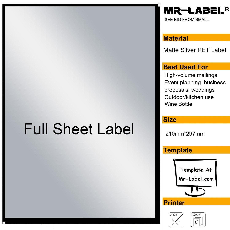Mr-Label® Extra Large Full-Foglio argento opaco etichetta etichette adesive - antigraffio Adesivi impermeabili Per informazioni sulla società | Bottiglia di vino - Laser Solo stampa (25 Fogli)