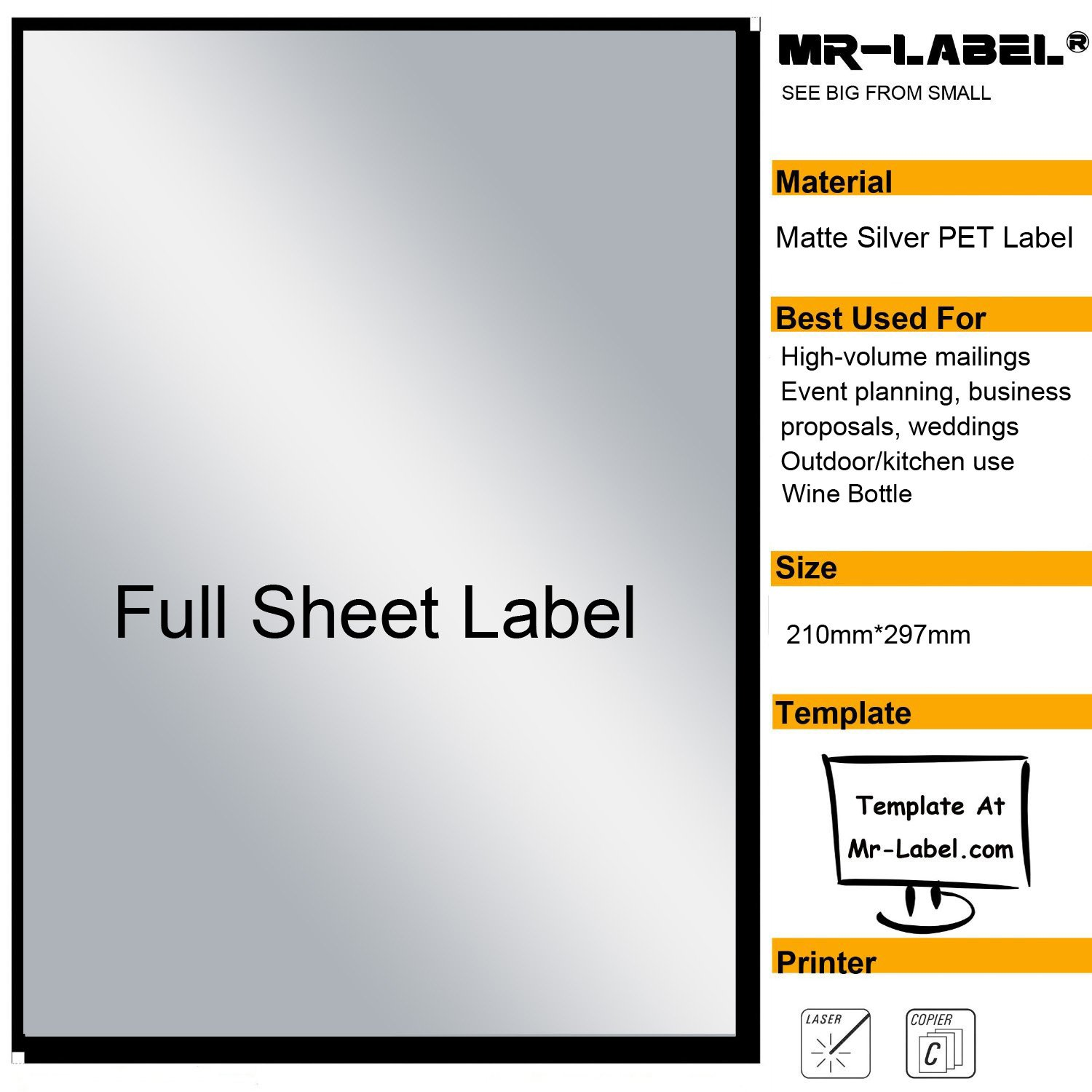 Mr-Label® Extra Large Full-Sheet Matte Silver Label Adhesive Labels – Scratchproof Waterproof Stickers for Company Information | Wine Bottle - Laser Print Only (25 Sheets) by Mr-Label (Image #1)