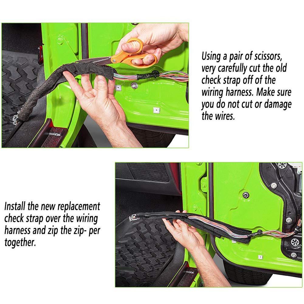 KGYECLEAR Jeep Wrangler Door Limiting Straps Adjustable Black Door Check Straps for 2007-2018 Jeep Wrangler JK