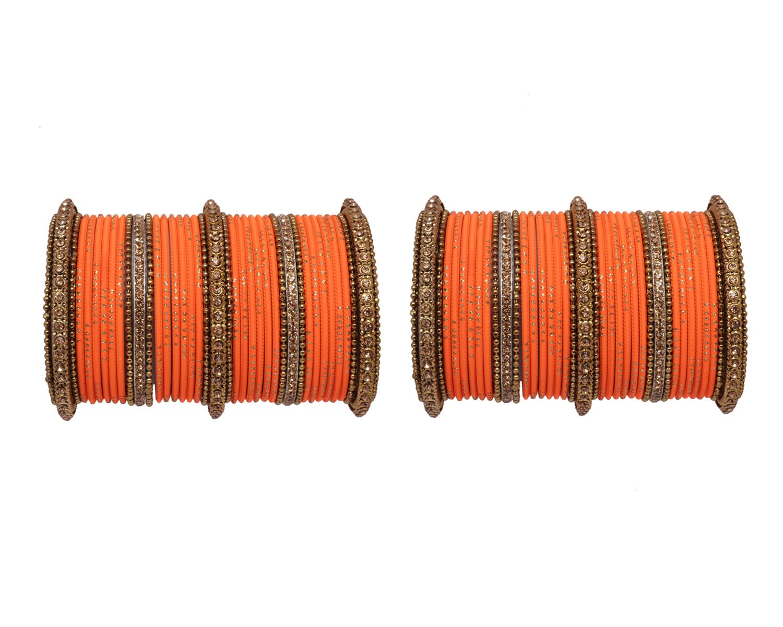 Ratna Fashionable set of 78 Orange Color Punjabi Wedding Bangles for Women Ethnic bangle jewellery