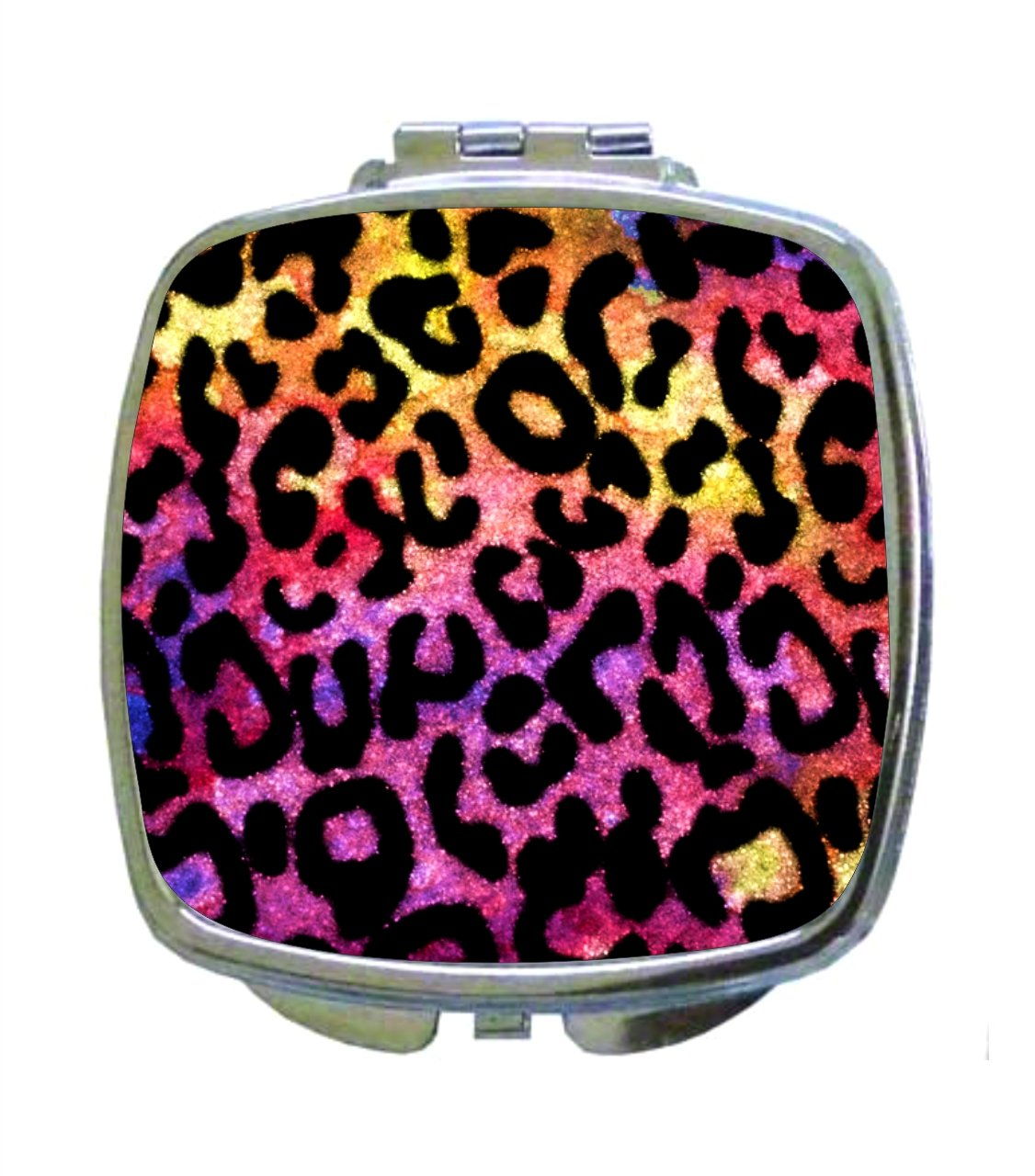Colorful Watercolor Grungy Leopard Animal Print - Compact Square Makeup/Face Mirror by Rosie Parker Inc. (Image #1)
