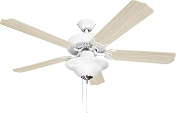 Five Reversible Blades and Frosted Dome Light Brushed Nickel Ceiling Fan Hyperikon 52 Inch Ceiling Fan with Remote Control Bulb Not Included