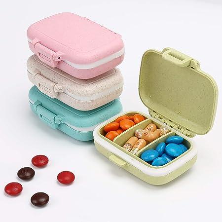 4 PC Pill Cases 3 Removable Compartments Pill Box Organizer Medicine Travel Pill Case for Pocket or Purse Daily Pill Box (4PCS Pill Cases 3 Removable Compartments)
