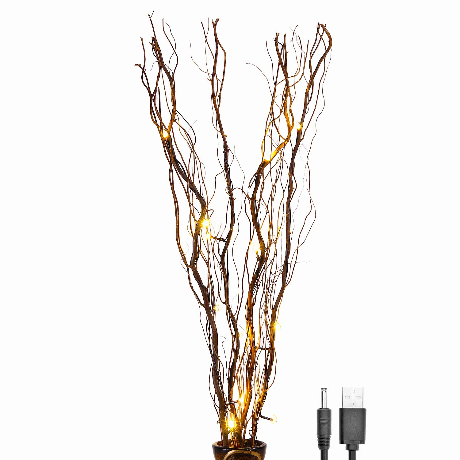 Lightshare Upgraded 36Inch 16LED Natural Willow Twig Lighted Branch for Home Decoration, USB Plug-in and Battery Powered
