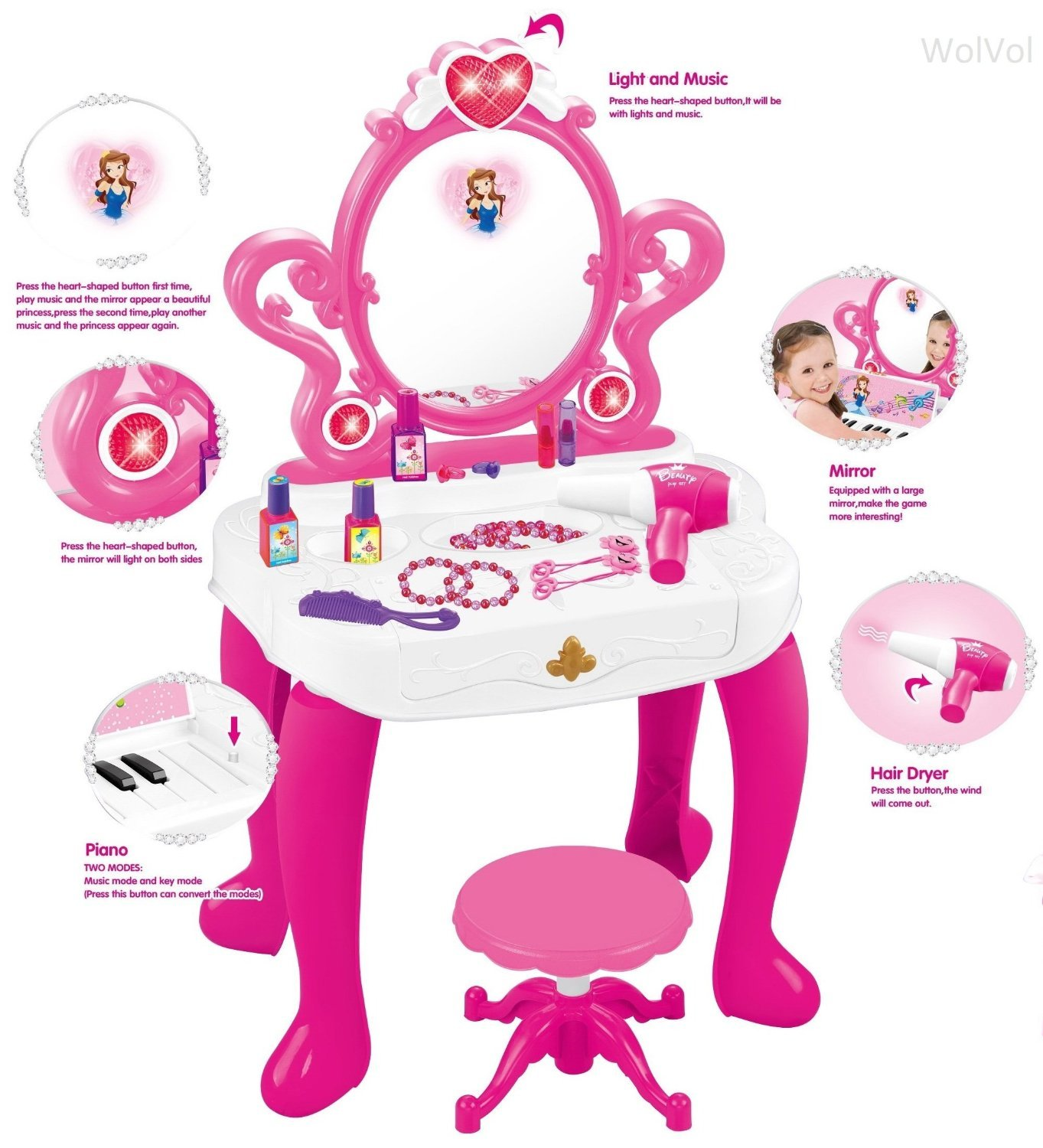 WolVol 2-in-1 Vanity Set Girls Toy Makeup Accessories with Working Piano & Flashing Lights, Big Mirror, Cosmetics, Working Hair Dryer - Glowing Princess Will Appear When Pressing The Mirror-Button by WolVol (Image #3)