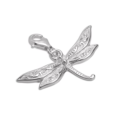 Large Sterling Silver Dragonfly Clip on Charm bVC1i
