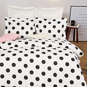 NTBAY Microfiber Queen Duvet Cover Set, 3 Pieces Ultra Soft Zipper Closure Bedding Set, Black and White Polka Dots