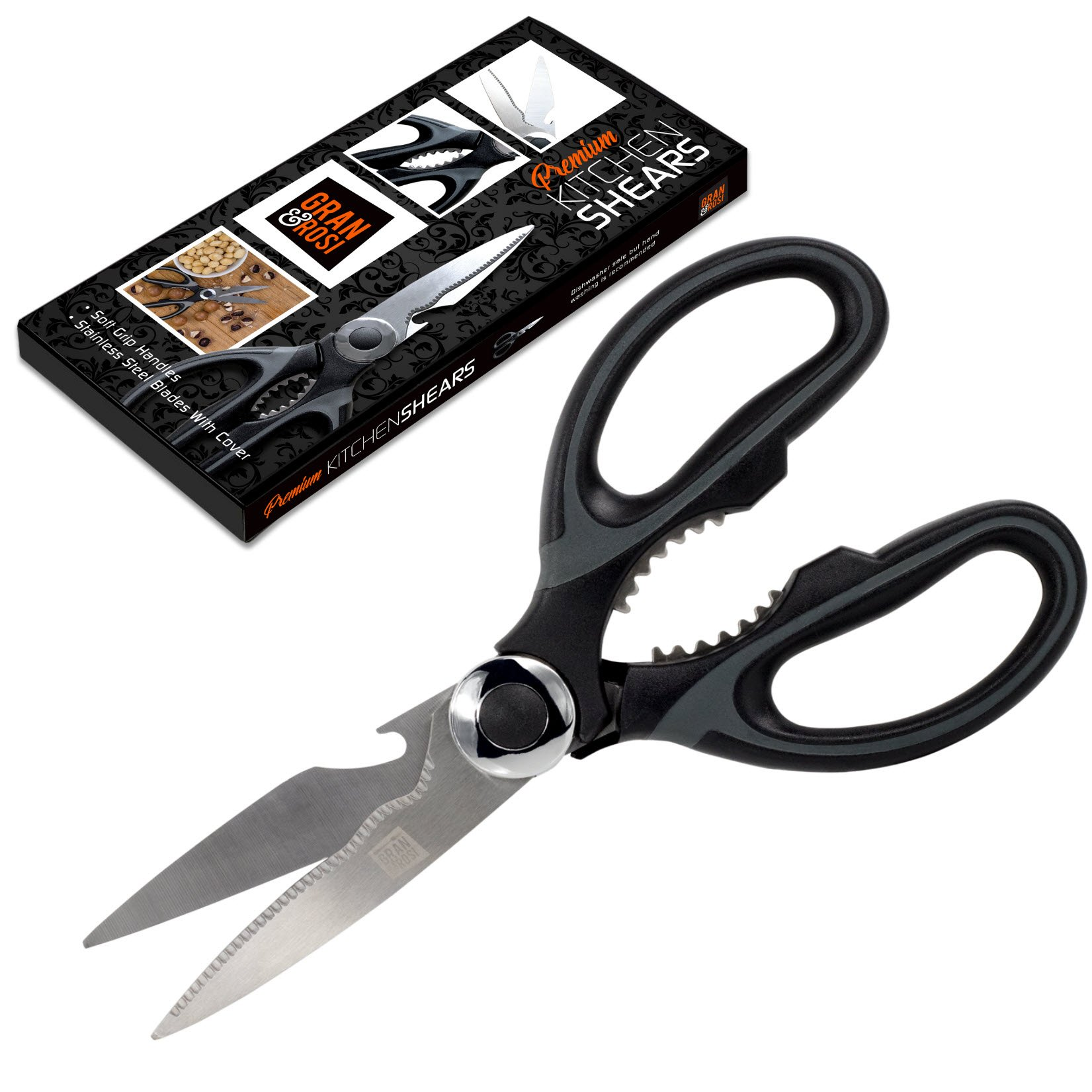 GranRosi Chef Quality Kitchen Scissors - Heavy Duty Stainless Steel Kitchen Shears - Extremely Sharp, Perfect For Cutting Your Chicken, Fish, Poultry And Vegetables