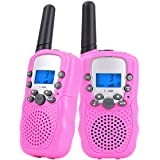 OPENDGO Kids Walkie Talkies Long Range Two Way Radio 3KM 22 Channels Battery Operated Handset with Indicator and Belt Clip for Children Outdoor Camping Hiking 2 PCS(Pink)