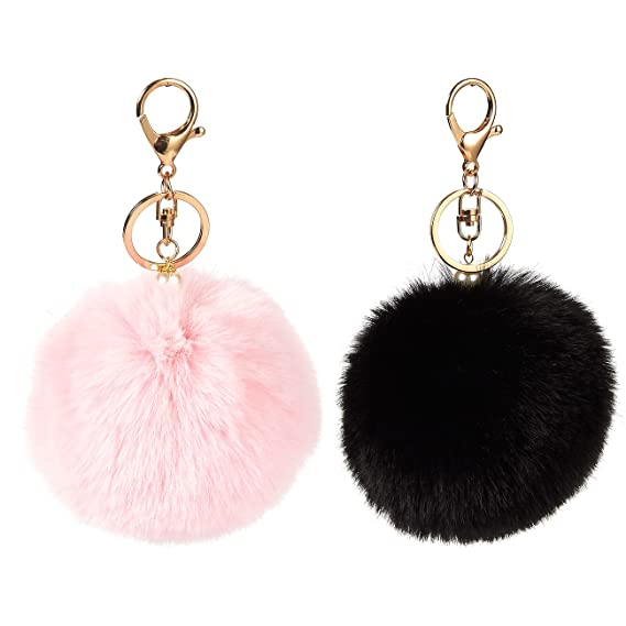 7b465d3d0 2-Piece Fur Pom Pom Keychains - Faux Fur Fluffy Keychains for Women, Great  as Fuzzy Ball Bag Charms, Baby Pink and Black, 6 x 3 x 3 Inches: Amazon.ca:  ...
