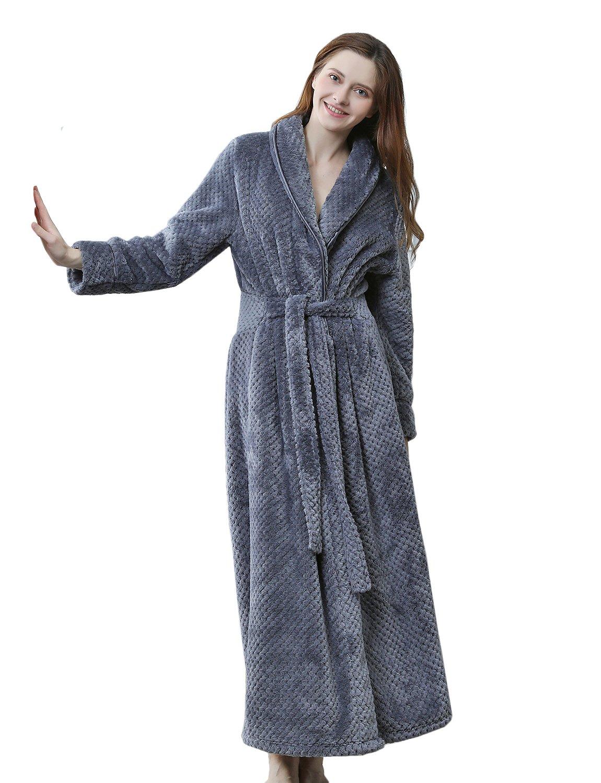 BELLOO Women Winter Fleece Dressing Gown Fluffy Bathrobe Full Long