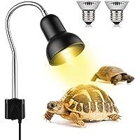 Lámpara para Tortuga, Lámpara de Calor de Reptil con 2 Bombillas de Luz Solar UVA UVB de 25 W, Iluminación de Calor…