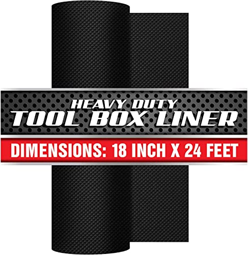 Precision Defined Professional Grade Tool Box Liner, 18 x 24 ft, Black Non-Slip Thick Cabinet Shelf Liner 18 Inch x 24 Feet