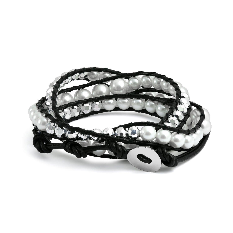 40ac45fcd52 Amazon.com: Boho White Simulated Pearl Bead Genuine Black Leather Strand  Triple Wrap Bracelet for Women Teen: Wrap Bracelets For Women: Jewelry