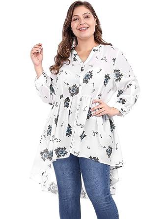 00b43f68fb5b7 uxcell Women s Plus Size Sheer Floral High Low Hem Chiffon Tunic Top Off 1X  White