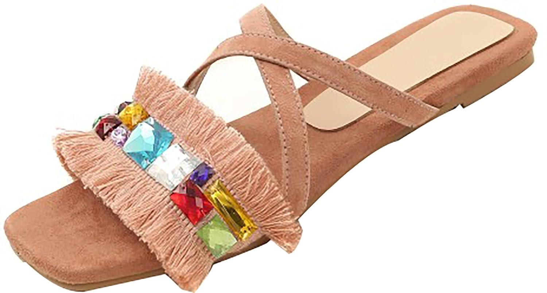 Calaier Damen Tuoxid 1CM Flach Schlüpfen Hausschuhe Schuhe Pink