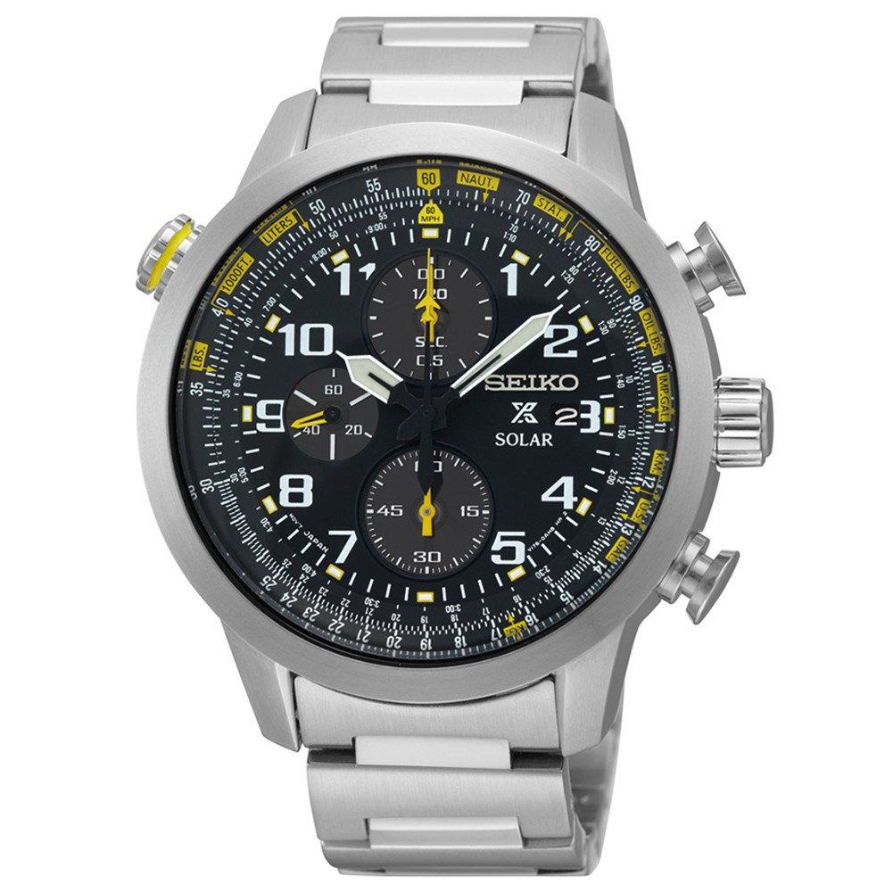 Seiko Men's Black Dial Stainless Steel Chronograph Quartz Men's Watch SSC369 by Unknown