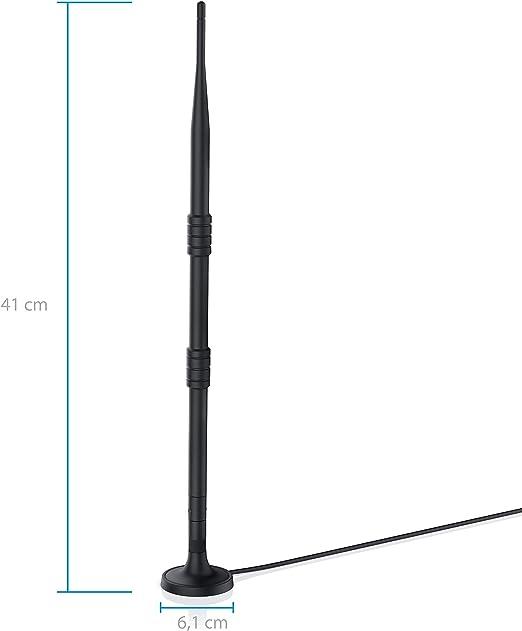 Csl-Computer Antena inalámbrica 12Dbi Wifi de4Ghz con soporte, amplificadores de señal y omnidireccional para enrutador de punto de acceso Negro