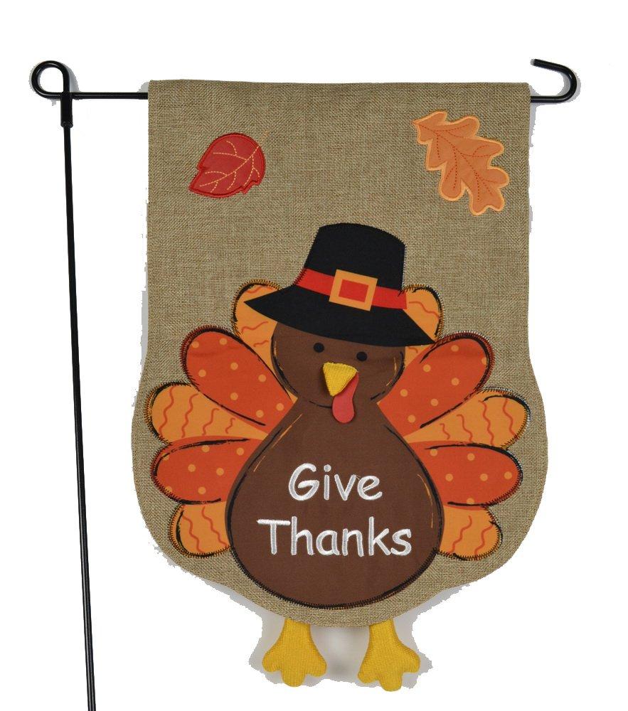 Amazon.com : Thanksgiving Garden Flag With Give Thanks Turkey ...