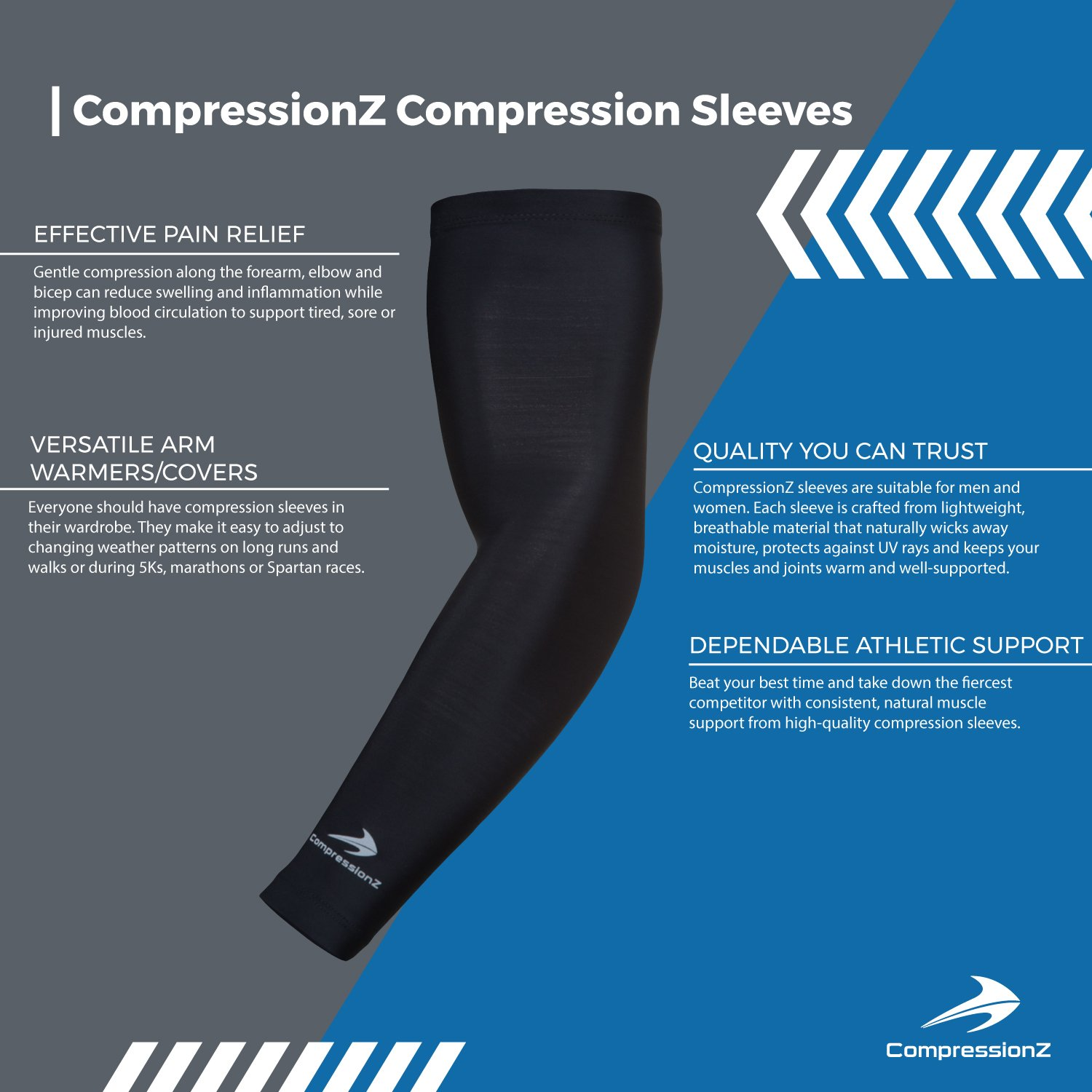 a306149a77 Amazon.com: CompressionZ Arm Sleeve (Pair) - Sports Compression Sleeves for  Baseball, Basketball, Football, Cycling, Golf - Elbow Brace for Arthritis,  ...