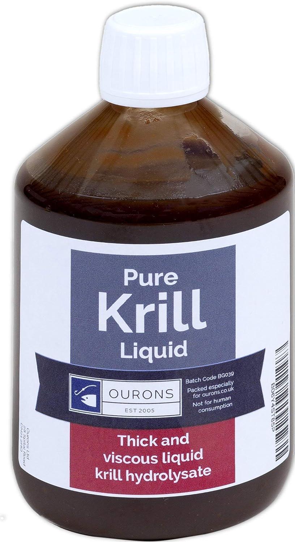 Ourons Hidrolizado de proteína de pescado líquido de Krill puro de 500 ml para cebos de pesca