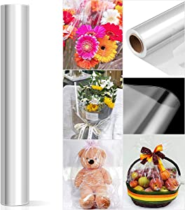 STOBOK Clear Cellophane Wrap Roll,Unfolded Wide 34 Inch 100 Ft Long 3 Mil Thick Flower Baskets Food Gift Crystal Transparent Wrappings Paper Food Safe