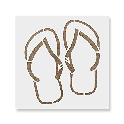 5746bdad49a29 Image Unavailable. Image not available for. Color  Flip Flops Stencil  Template ...