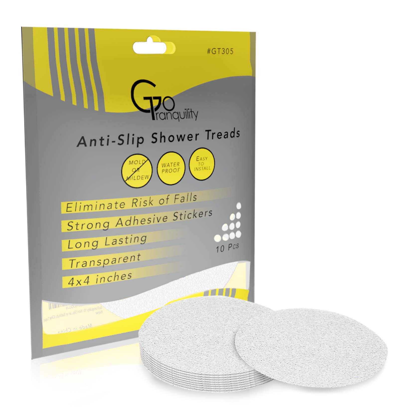 Non Slip Safety Shower Grip Treads to Prevent Slippery Surfaces in The Bathtub 10 Non-Skid Clear PEVA Discs Anti-Slip Stickers