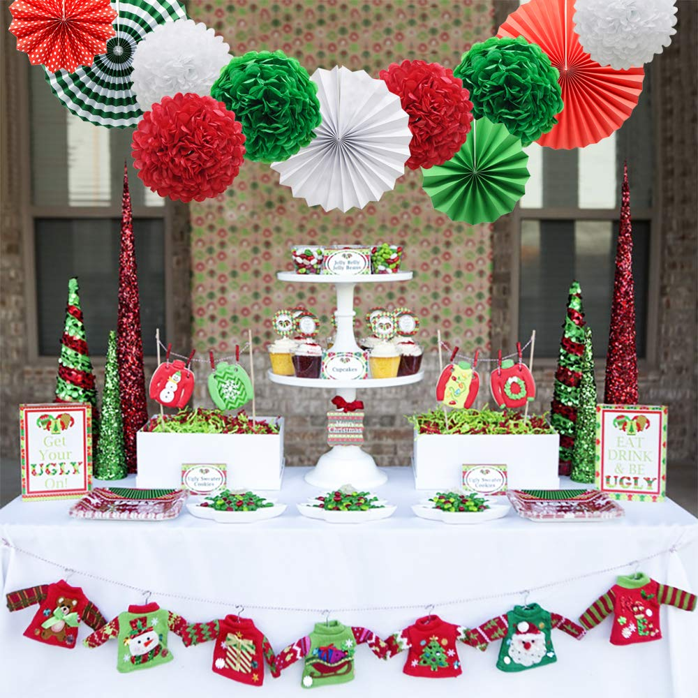 Red White Green Hanging Paper Party Decorations Round Paper Fans Set Paper Pom Poms Flowers for Christmas Birthday Wedding Graduation Baby Shower