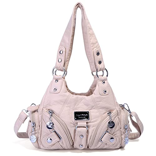2cbe6c07de8c Amazon.com  Handbag Hobo Women Bag Roomy Multiple Pockets Street Ladies  Top  Handle Fashion PU Tote Satchel Bag Shoulder Bag (Beige)  Shoes